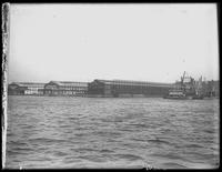 Piers 56, 57, and 58, North River, New York City, viewed from the Hudson River, March 22, 1909.