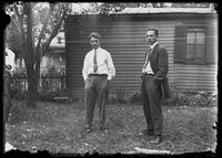 James Welty and unidentified man, in back garden of unidentified house, probably Meadville, Pennsylvania, undated (ca.1913-1914).