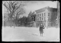William Gray Hassler in Grand Army Plaza near Central Park, winter, New York City, undated (ca. 1913-1914).