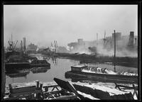 Aftermath of the Atlantic Basin fire, Brooklyn, February 16, 1916. Photographed for Allan Appleton Robbins of the Robbins Ripley Company.