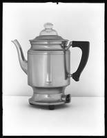 Product shot of an electric coffee percolator, June 8, 1915. Photographed for the United Electric Light and Power Company.