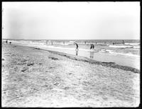 First half of a panorama view of oceanfront lots and the beach, Belle Harbor, Queens, July 11, 1915. Photographed for Joseph P. Day.
