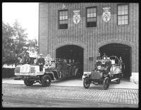Closer view of the Far Rockaway fire station showing engines, fire fighters, Belle Harbor, Queens, July 12, 1915.  Photographed for Joseph P. Day.