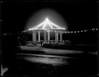 Night illuminations on an unidentified gazebo, probably Riverside Park at 151st Street, Manhattan, undated [circa July 1916].