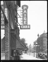 Paige Cars sign at 1410 Bedford Avenue, Brooklyn, July 13, 1916. Photographed for Lawrence L. Strauss.