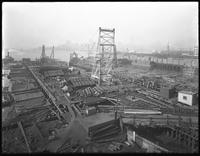 Pier 17, Joralemon Street, Brooklyn, November 9, 1916. Also shows the demolition of the old Pier 17 to make room for the new one. Photographed for the Robbins-Ripley Company.