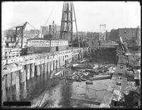Pier 17, Joralemon Street, Brooklyn, November 9, 1916. Also shows the demolition of the old Pier 17 to make room for the new one. View from the opposite end of the pier. Photographed for the Robbins-Ripley Company.