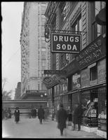 'Drugs / Soda' sign for Alhambra Pharmacy, 2100 Seventh Avenue, New York City, January 31, 1917. Photographed for Lawrence L. Strauss
