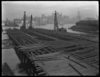 Pier 15 at the foot of Montague Street, under construction, Brooklyn, October 9, 1919. Photographed for the Robbins-Ripley Company.