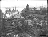 Pier 15 at the foot of Montague Street, under construction, Brooklyn, backdated October 4, 1919. Photographed on October 9, 1919 for the Robbins-Ripley Company.