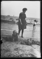 William Gray Hassler and his mother Ethel Magaw Hassler on Brighton Beach, New York City, undated (ca. 1912-1916).