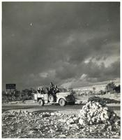 Five Polish Soldiers in military car on the road to Derna.