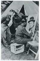 A Soldier Draws a Portrait of Winston Churchill