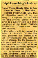 Article on ship named for Randall