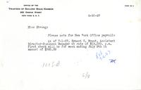 Correspondence to New York office payroll for Ernest G. Mount