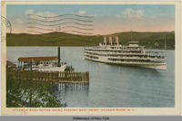 Steamer Washington Irving Passing West Point. Hudson River, N.Y. [front caption] (1front) [h0079ac1]