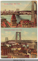 Brooklyn Bridge, New York. [top] Williamsburg Bridge, New York. [bottom] [front caption] (1front) [h0099ac1]