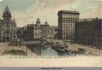 Savings Bank, Erie Canal, Opera House, Syracuse, New York [front caption] (1front) [e0157ac1]