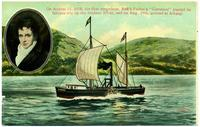 "On August 17, 1808, the first steamboat, Rob't Fulton's ""Clermont"" [portion of front caption] (1front) [h0151ac1]"