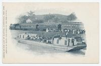 SHRINE OF OUR LADY OF MARTYRS, AURIESVILLE, NEW YORK.  ARRIVAL BY TRAIN AND BARGE ON THE ERIE CANAL.  [portion of front caption, printed at left side] (1front) [e0524ac1]