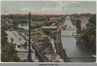 LOOKING EAST FROM N.Y.C.R.R. BRIDGE, LOCKPORT, N.Y.  [front caption] (1front) [e0183ac1]