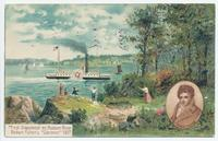 First Steamboat on Hudson River. Robert Fulton's Clermont 1807 [front caption] (1front) [h0112ac1]