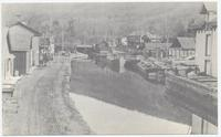 LOOKING TOWARD ELLENVILLE; D. & H. Canal Lock; From Center Street Bridge [back caption] (1front) [d0088ac1]
