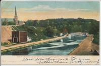 ERIE CANAL AND ST. AGNES CHURCH, COHOES, N.Y. [front caption] (1front) [e0009ac1]
