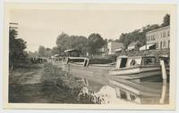 Canal Boat anchored on Champlain Canal in rural scene (1front) [c0073ac1]