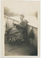 Woman laughing on boat (1front) [e0612ac1]