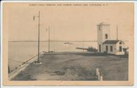 BARGE CANAL TERMINAL AND HARBOR, ONEIDA LAKE, CLEVELAND, N.Y. [front caption] (1front) [b0117ac1]