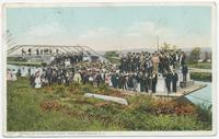 ARRIVAL OF PILGRIMS BY CANAL BOAT, AURIESVILLE, New York [front caption] (1front) [e0716ac1]
