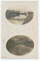 Pair of oval images depicting scenes along the Erie Canal in unknown locations (1front) [e0686ac1]