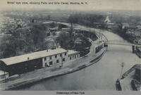 Birds' eye view, showing Falls and Erie Canal, Medina, New York [front caption] (1front) [e0266ac1]