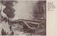 Burning the Canal Boats that were wrecked by break in the Erie Canal on July 30, 1907, Syracuse, N. Y.[front caption] (1front) [e0193ac1]