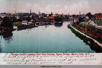 Seneca Canal, Looking East from Rumsey Street Bridge, Seneca Falls, New York [front caption] (1front) [s0005ac1]