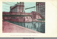 Canal Boats Passing Under Salina Street Bridge, Syracuse, N.Y. [front caption] (1front) [e0347ac1]