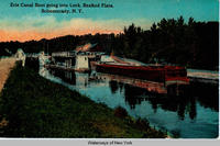 Erie Canal Boat going into Lock. Rexford Flats at Schenectady, N.Y. [front caption] (1front) [e0139ac1]