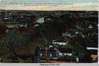 Bird's Eye View, Albion, N.Y., showing Polish Church and School, Erie Canal, Old Mill and Stone Crushed in the distance. [front caption] (1front) [e0431ac1]