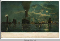 NEW YORK HARBOR AT NIGHT [front caption] (1front) [h0007ac1]