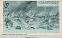 Towing the burning steamers, the Saale the Kaiser Wilhelm der Grosse and the Bremen into the Hudson River  [front caption] (1front) [h0013ac1]