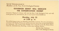 Information postcard for Conservation exhibit dedication