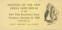 Admission ticket for opening of new Great Apes House exhibit