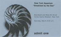 Admission ticket to Breakfast by the Sea event, May 6 1978, New York Aquarium