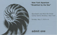 Admission ticket to Breakfast by the Sea event, May 7 1978, New York Aquarium