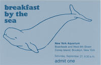 Admission ticket to Breakfast by the Sea event, September 27, 1980, New York Aquarium