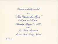 Invitation to Nite Under the Stars event, August 21, 1980, New York Aquarium