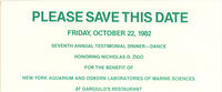 Save the Date card for Seventh Annual Testimonial Dinner-Dance for the benefit of New York Aquarium