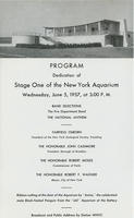 Program for Dedication of Stage One of the New York Aquarium
