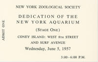 Ticket to Dedication of Stage One of the New York Aquarium